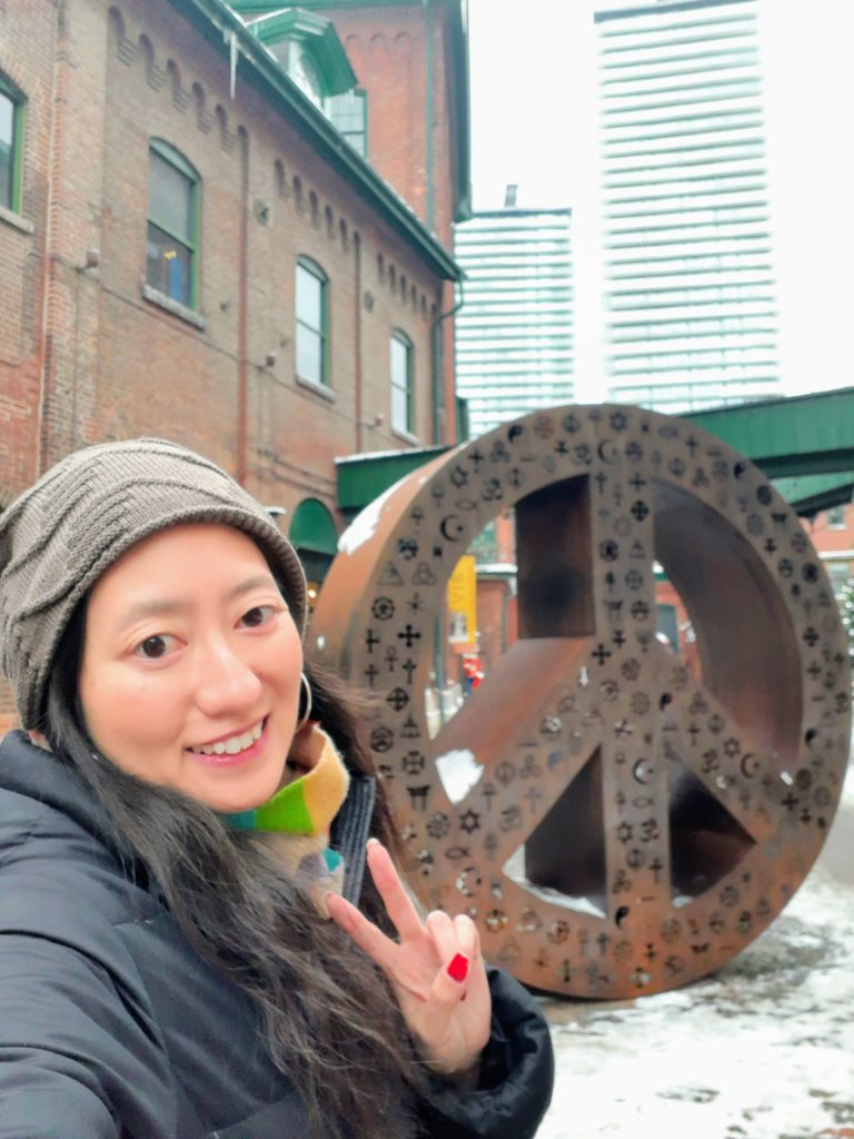 The peace sign sculpture in Toronto's Distillery District